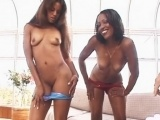 Two pretty black girls have fun on his huge penis